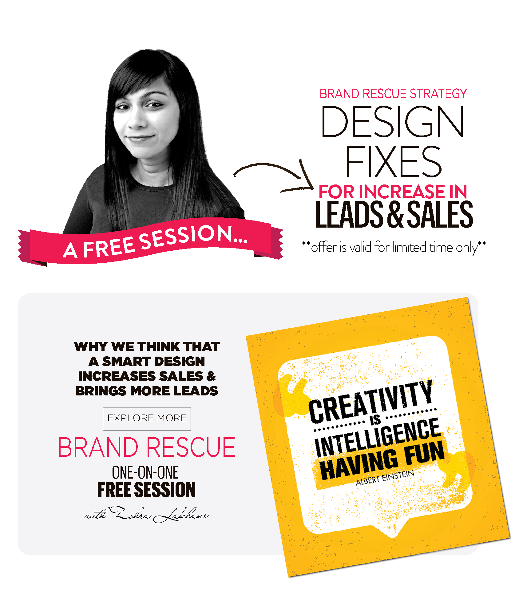 Book Free Brand Rescue Session With Zohra Lakhani | Design Fixes For Increase In Leads & Sales